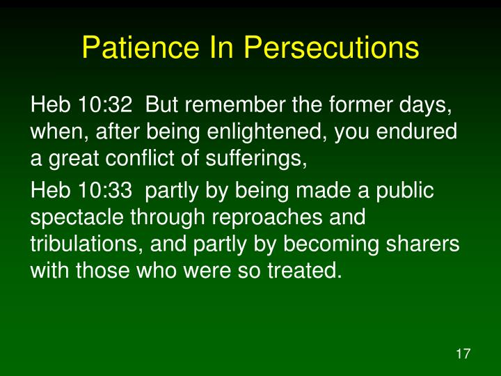 Patience In Persecutions