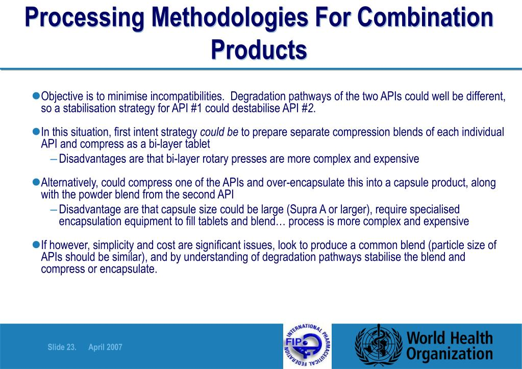 Processing Methodologies For Combination Products