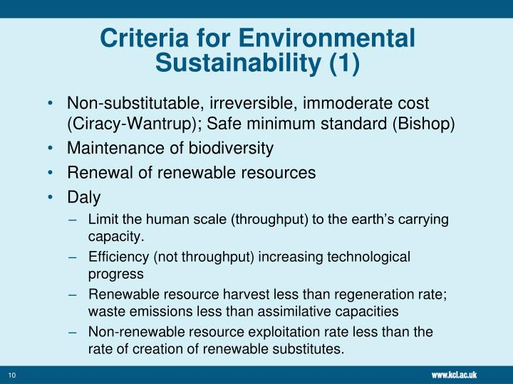 Criteria for Environmental Sustainability (1)