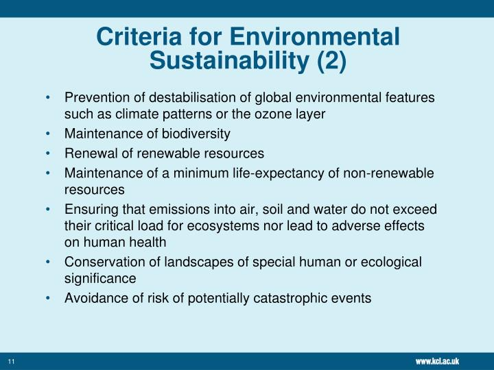 Criteria for Environmental Sustainability (2)
