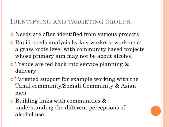 Identifying and targeting groups