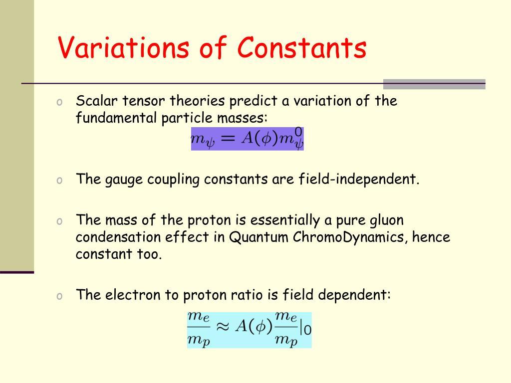 Variations of Constants