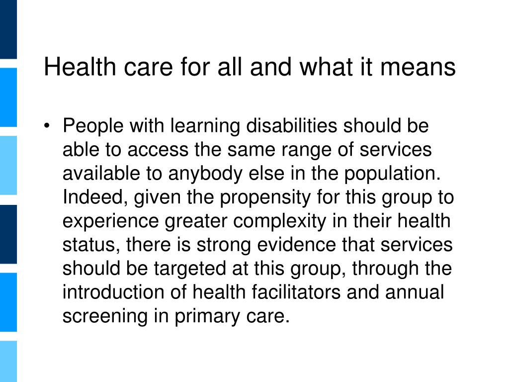Health care for all and what it means