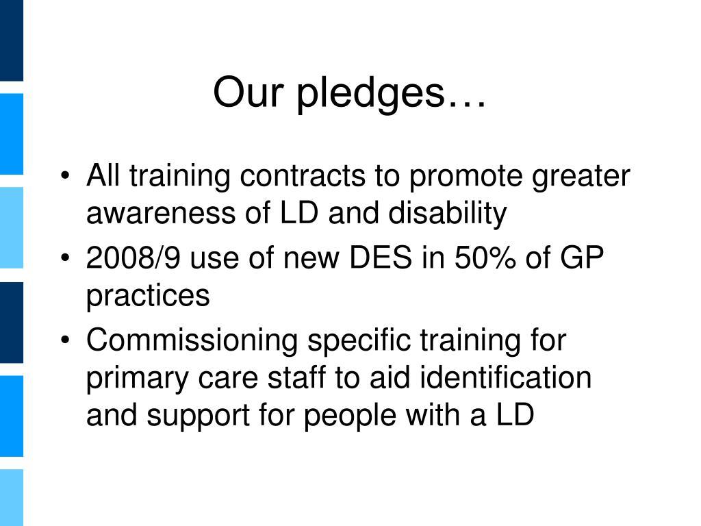 Our pledges…