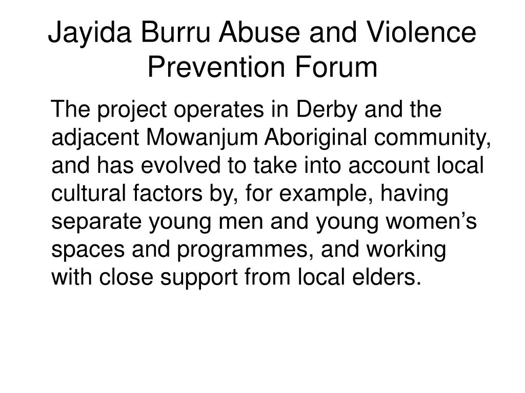 Jayida Burru Abuse and Violence Prevention Forum