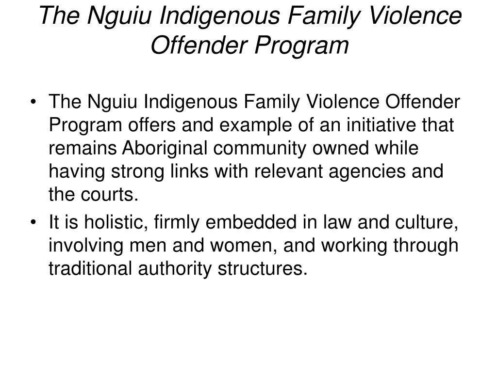 The Nguiu Indigenous Family Violence Offender Program