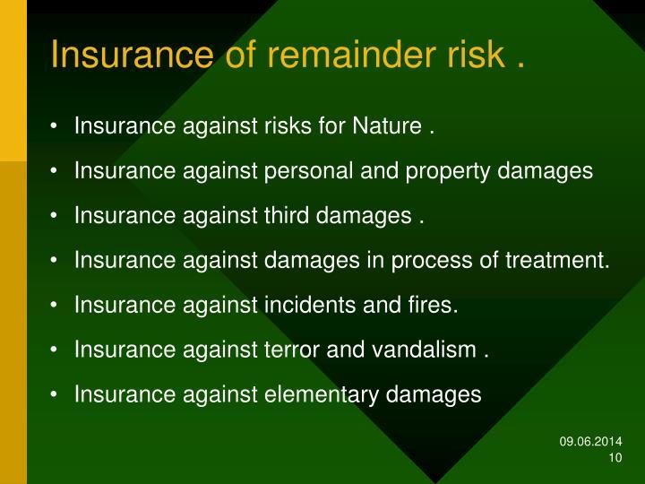 Insurance of remainder risk