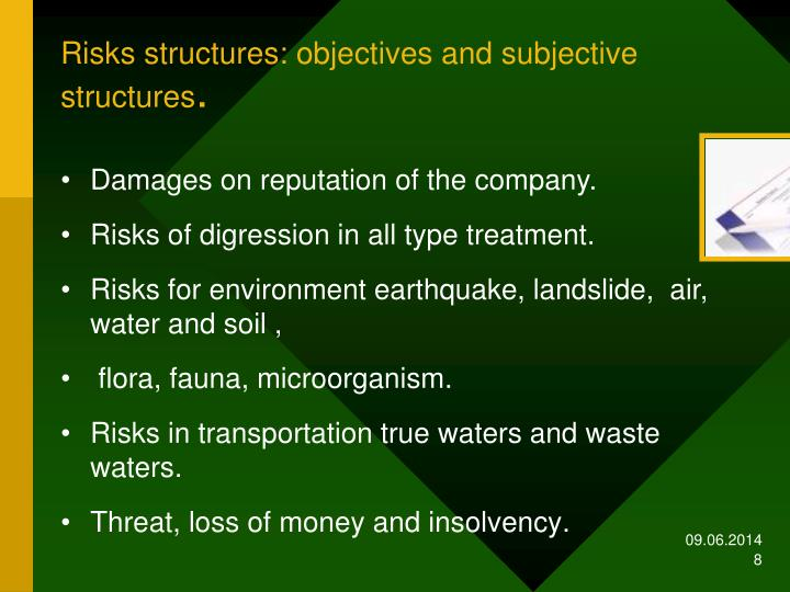 Risks structures: objectives and subjective structures