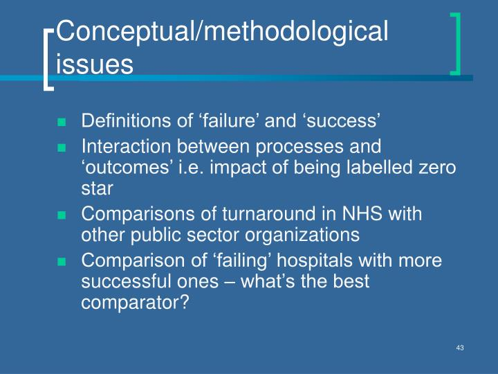 Conceptual/methodological issues