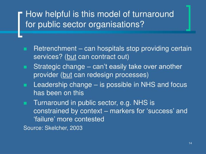 How helpful is this model of turnaround for public sector organisations?