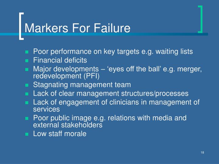 Markers For Failure