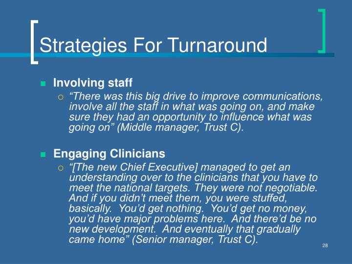 Strategies For Turnaround