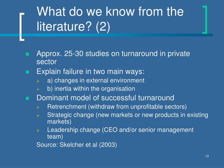 What do we know from the literature? (2)