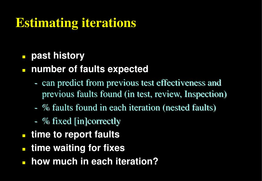 Estimating iterations