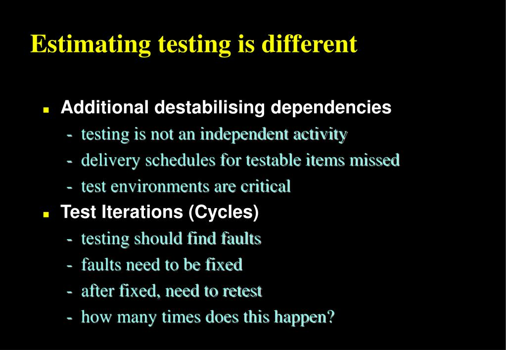Estimating testing is different