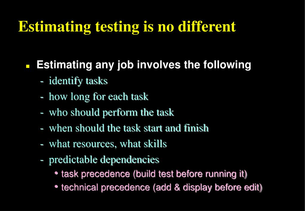 Estimating testing is no different