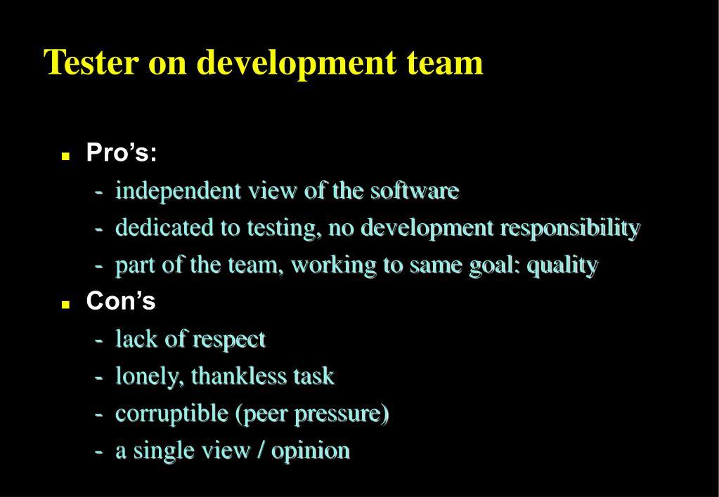 Tester on development team