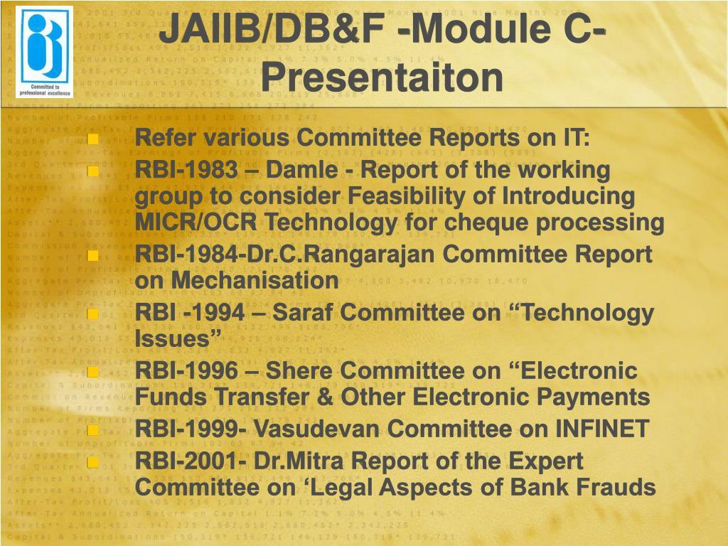 JAIIB/DB&F -Module C-Presentaiton