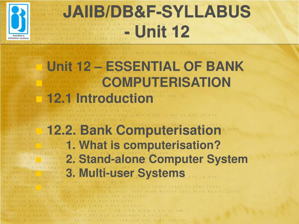 JAIIB/DB&F-SYLLABUS