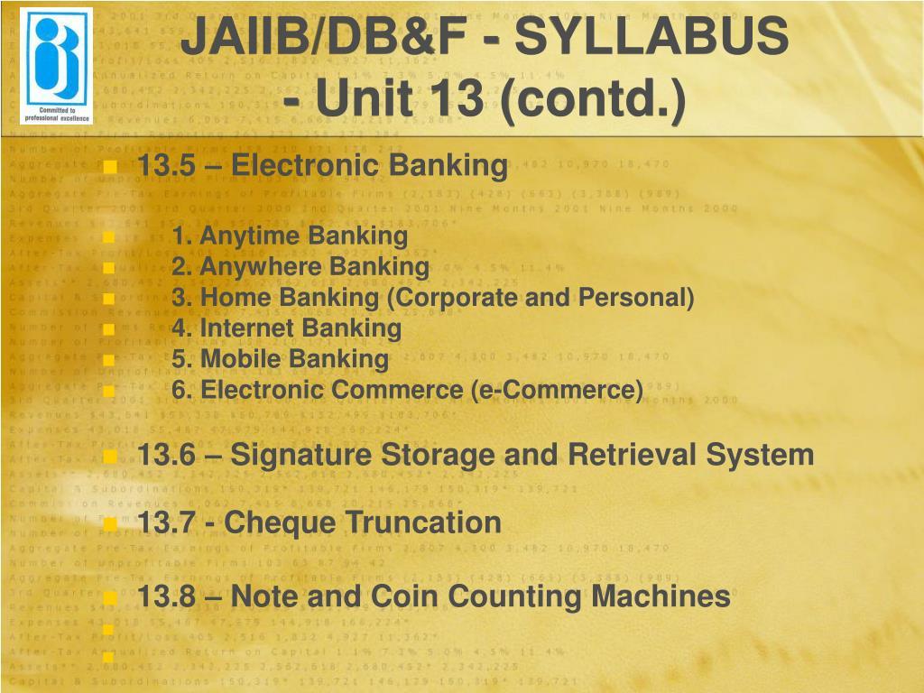 JAIIB/DB&F - SYLLABUS
