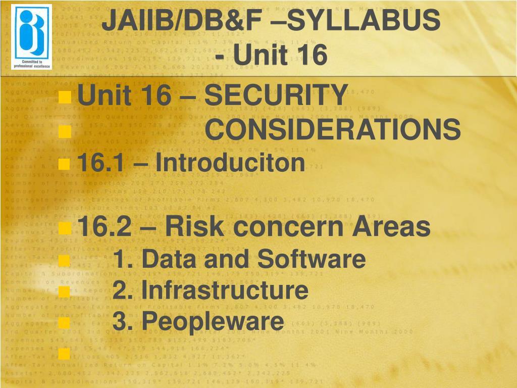 JAIIB/DB&F –SYLLABUS