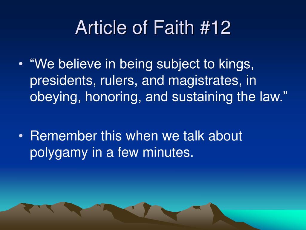 Article of Faith #12