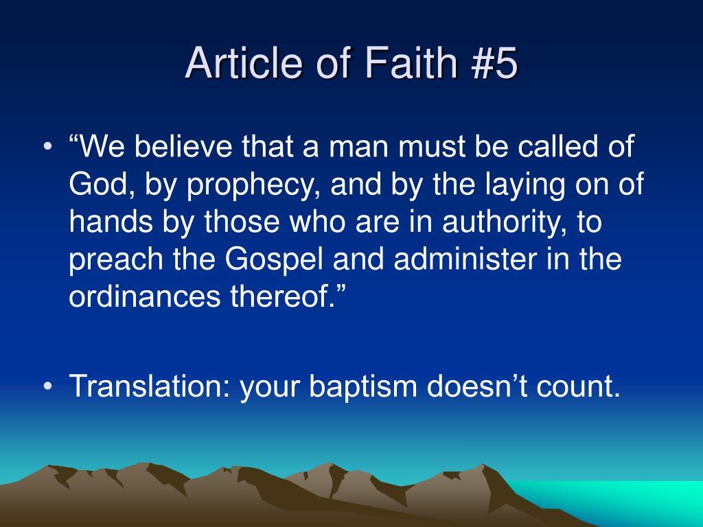 Article of Faith #5