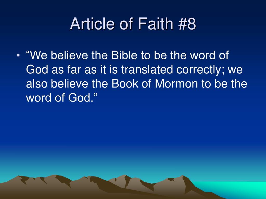 Article of Faith #8