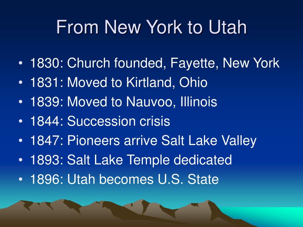 From New York to Utah
