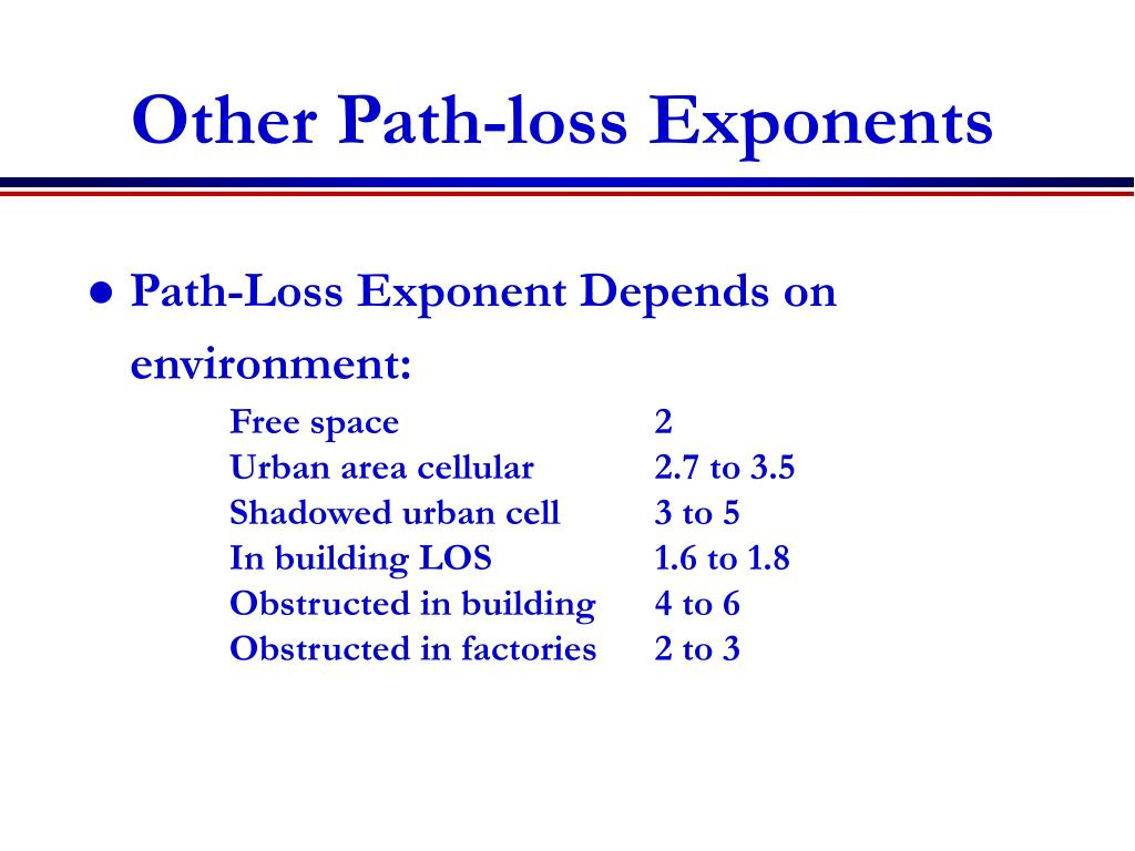 Other Path-loss Exponents
