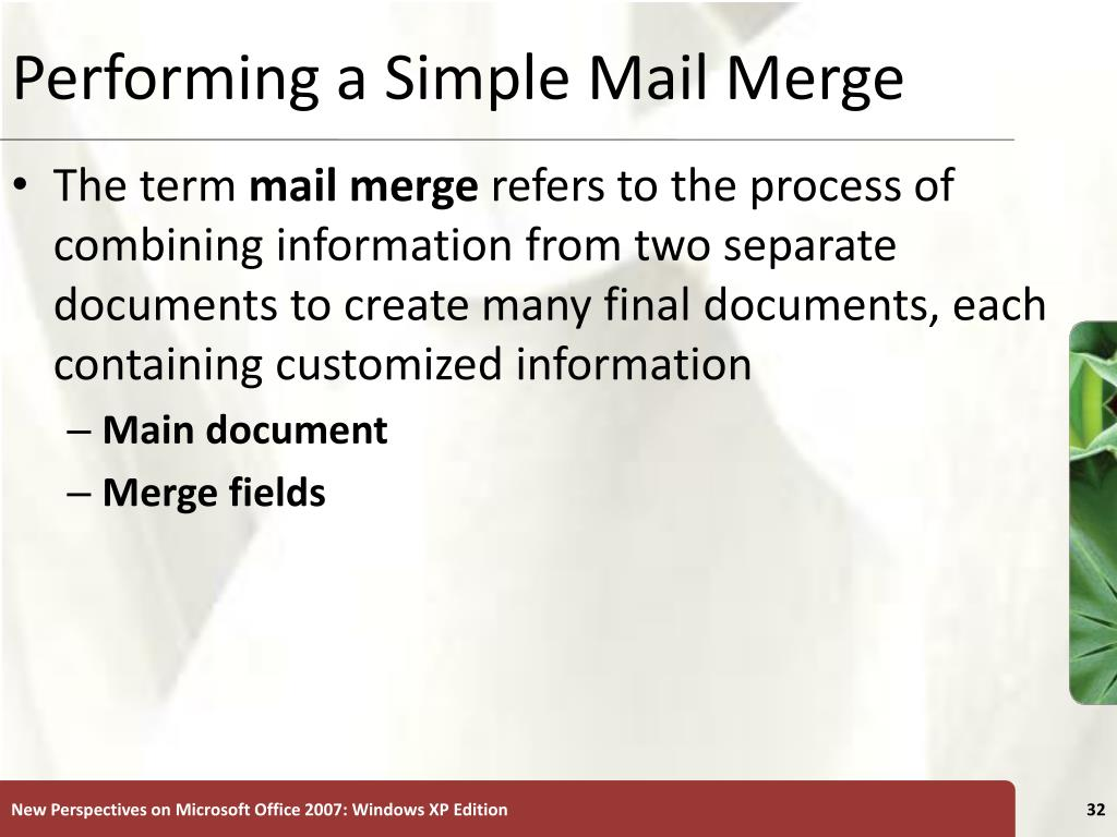 Performing a Simple Mail Merge