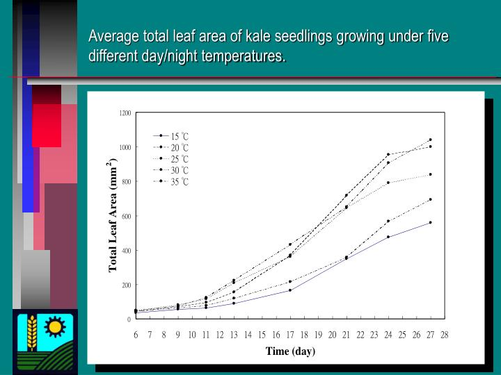 Average total leaf area of kale seedlings growing under five different day/night temperatures.