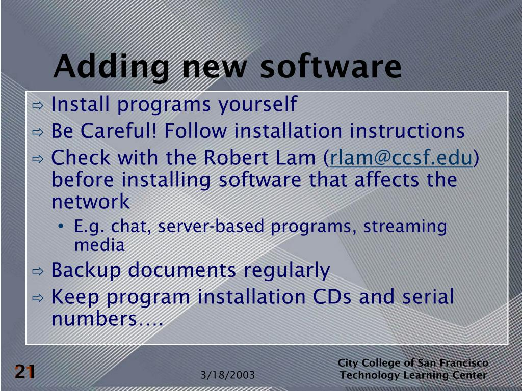 Adding new software
