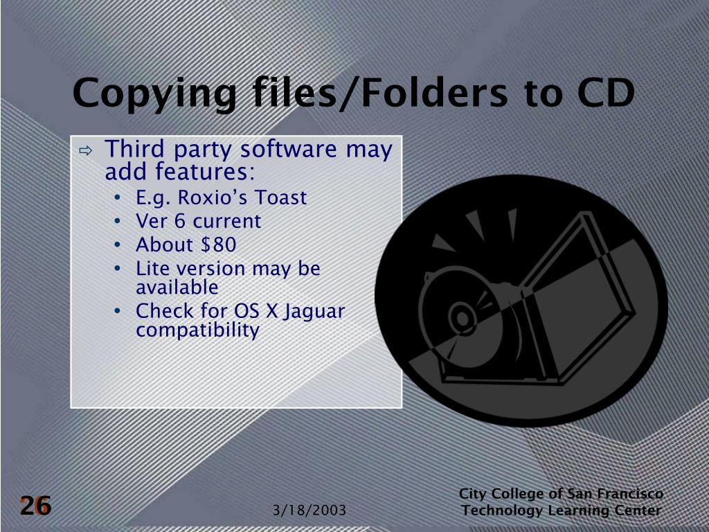 Copying files/Folders to CD