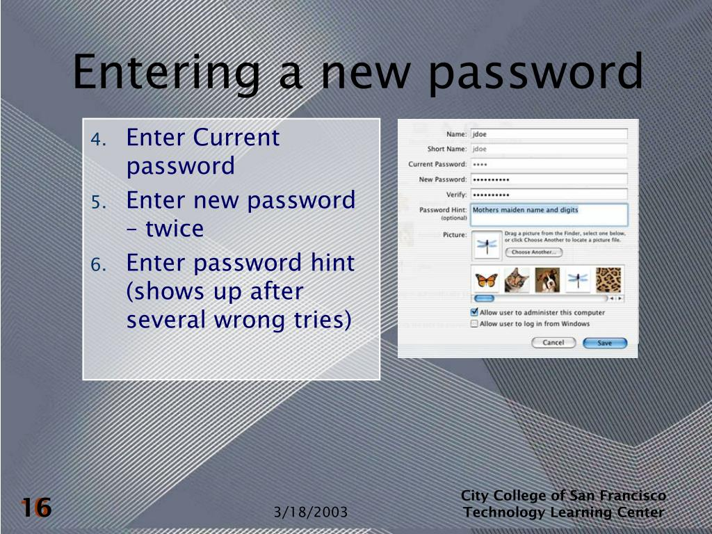 Entering a new password