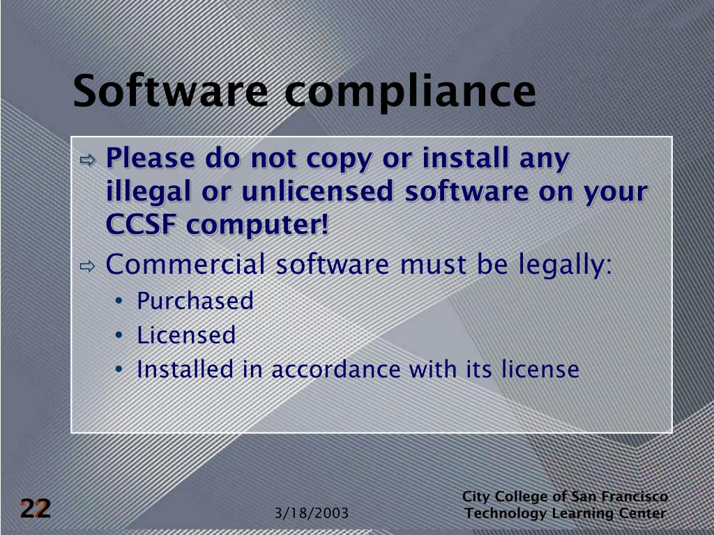 Software compliance