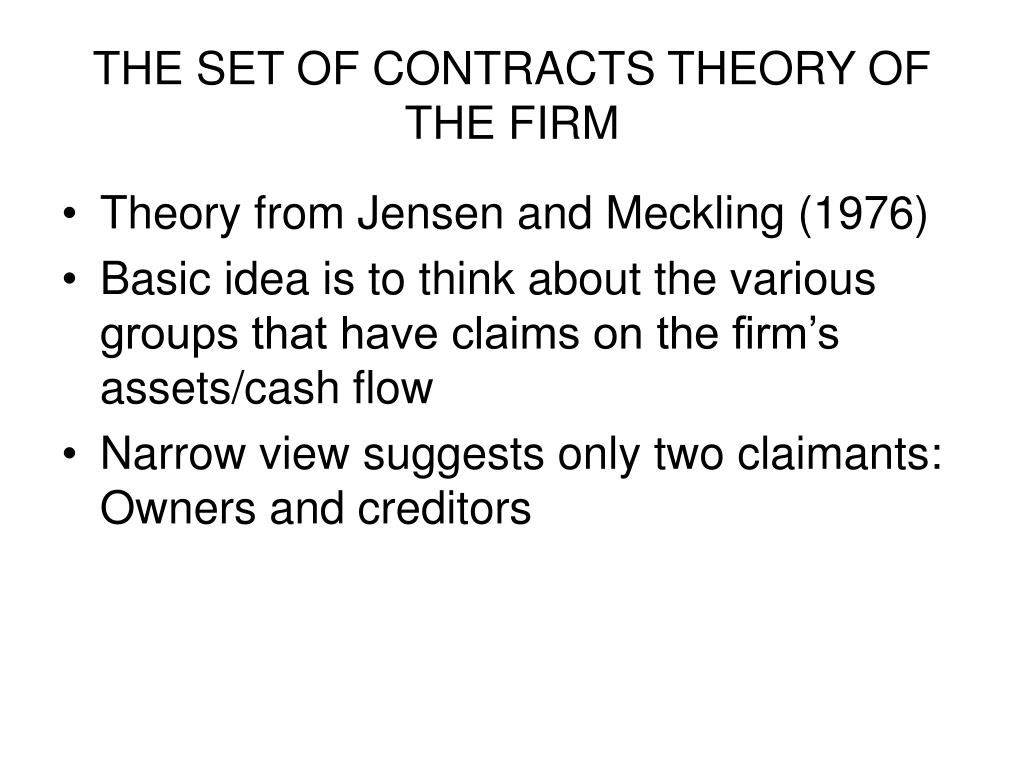 THE SET OF CONTRACTS THEORY OF THE FIRM