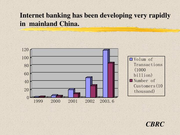 Internet banking has been developing very rapidly in mainland china