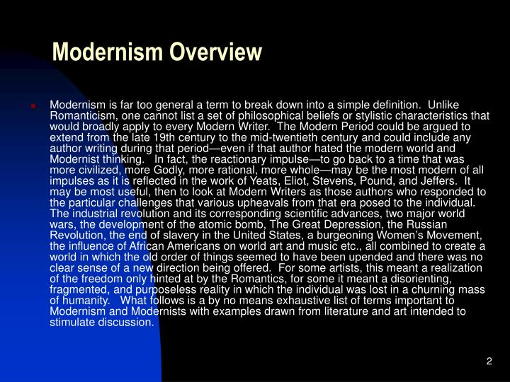 Modernism Overview