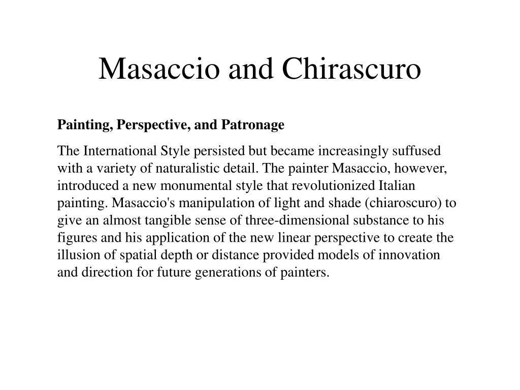 Masaccio and Chirascuro