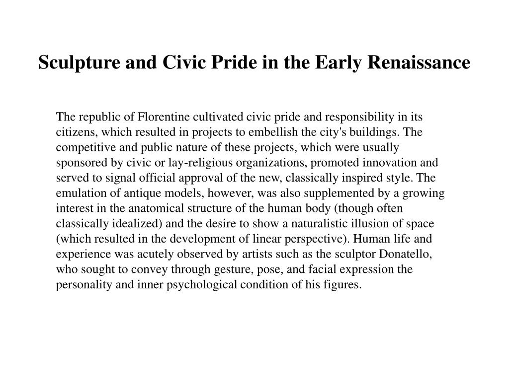 Sculpture and Civic Pride in the Early Renaissance