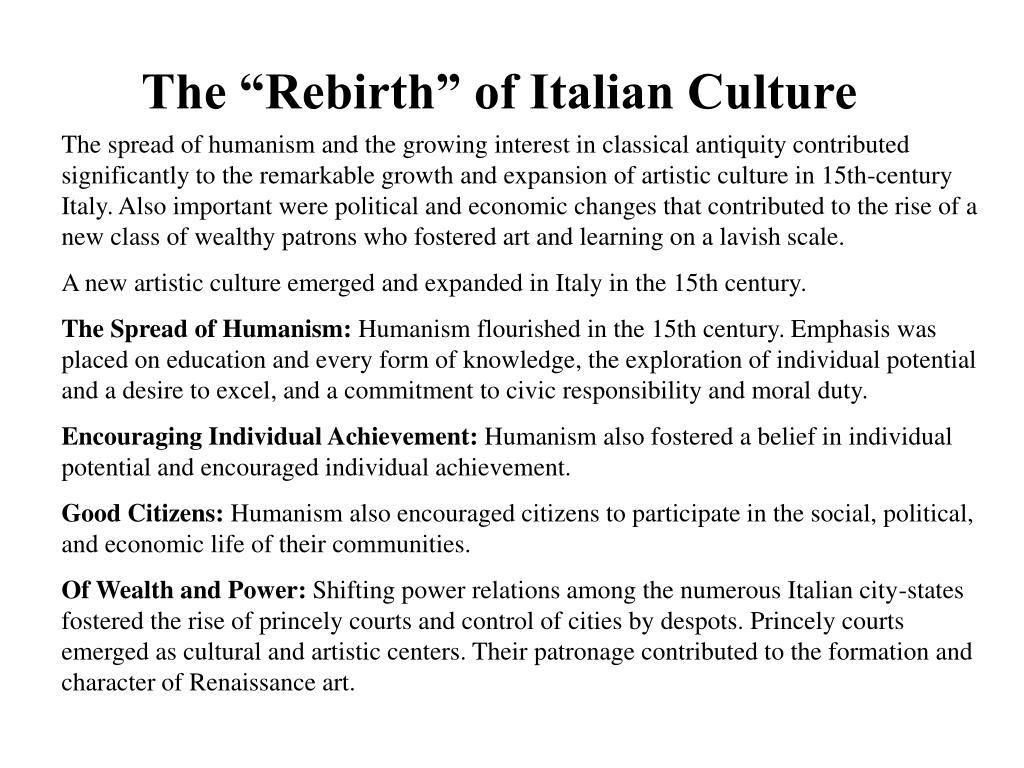 """The """"Rebirth"""" of Italian Culture"""