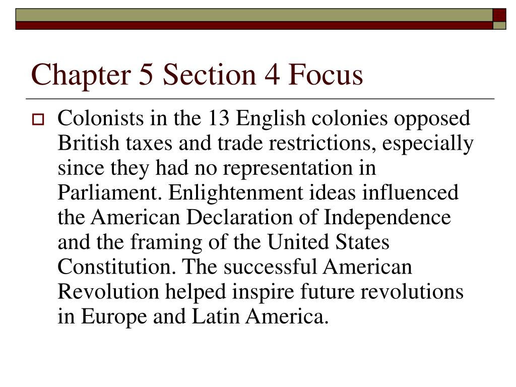 Chapter 5 Section 4 Focus
