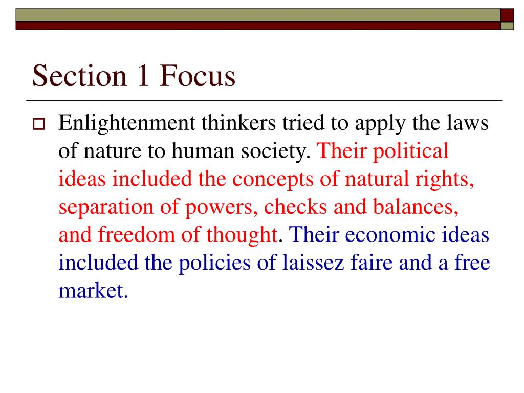 Section 1 Focus