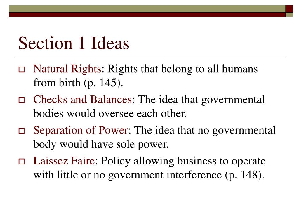 Section 1 Ideas