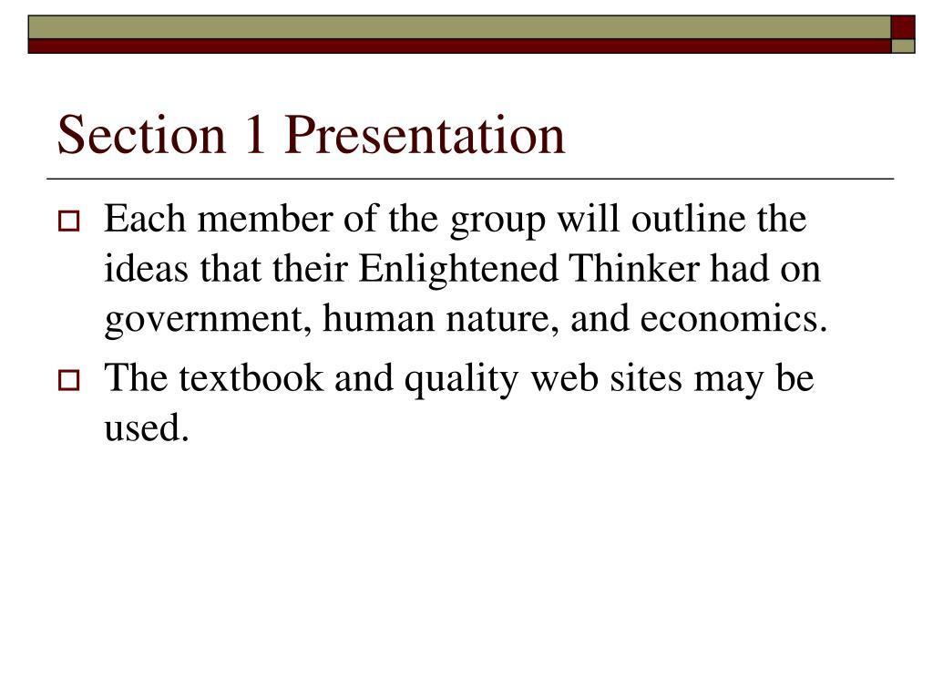 Section 1 Presentation