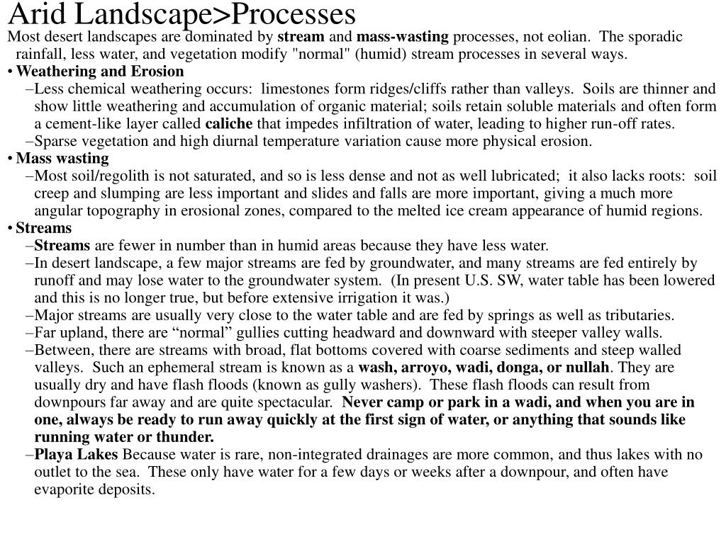 Arid Landscape>Processes