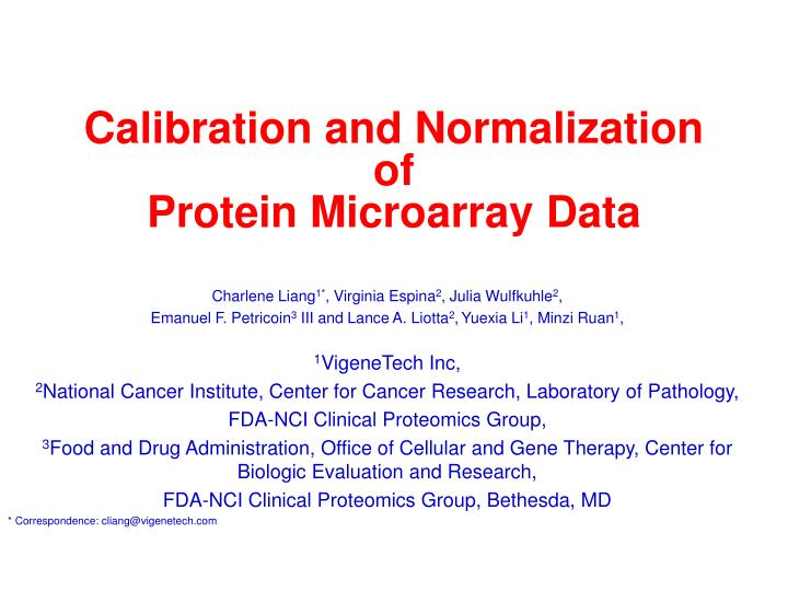 Calibration and Normalization