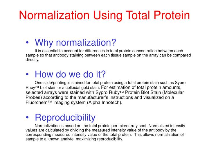 Normalization Using Total Protein