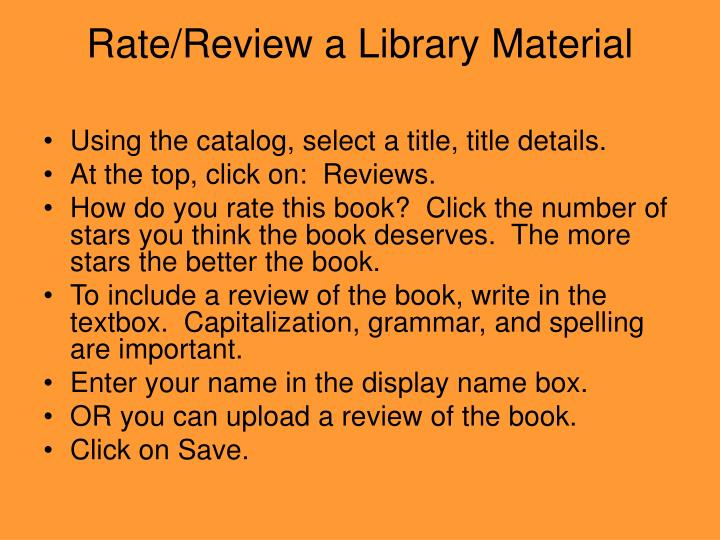 Rate/Review a Library Material